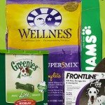 Variety of dog food, treats and supplies
