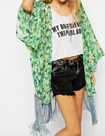 Kimono in Floral with Fringing