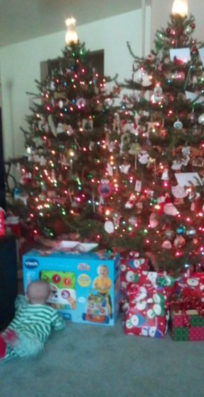 Jaxon's first Christmas! Love my tree!