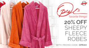 20% off all Sheepy Fleece Robes! Just use promo code OPRAH to steal this deal! From now until December 8th.