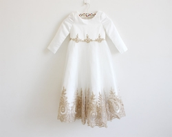 Light Ivory Flower Girl Dress with Gold Embroidery Long | Etsy