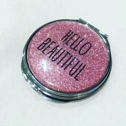 Hello beautiful pink glitter compact