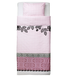 Quilt cover and pillowcase MYSTISK Lace pink