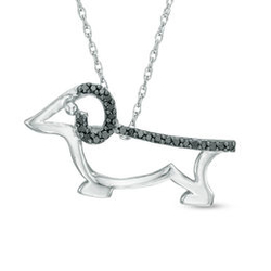Enhanced Black Diamond Accent Dachshund Pendant in Sterling Silver|Zales