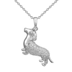 Diamond Accent Dachshund Pendant in Sterling Silver