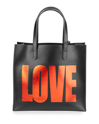 Givenchy Leather Love Tote Bag w/ Pouch, Black/Red