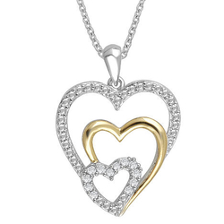 1/10 cttw. Diamond Two-Tone Sterling Silver Heart Necklace