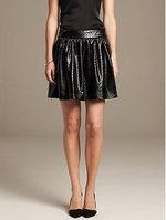Laser Cut Faux-Leather Skirt