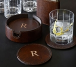 Saddle Leather Drink Coaster Set
