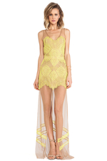 For Love & Lemons Antigua Maxi Dress in Chartreuse