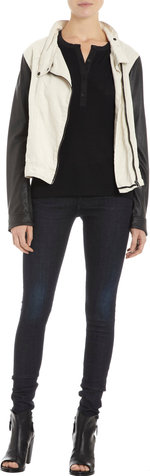 Rag & Bone Leather Sleeves Moto Jacket