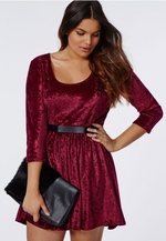 Burgundy Crushed Velvet Skater Dress