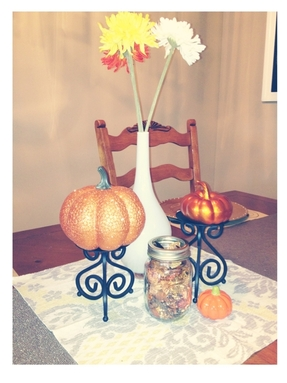 My fall decor set up on my dining room table!